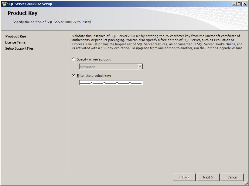 SBS 2011 SQL 2008 Product code screenshot